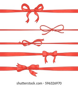 set of red thin bows and horizontal ribbons on white. hand drawn vector illustration. collection of decorative elements for celebration greetings, invitations