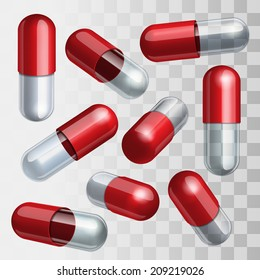 Set of red and transparent medical capsules in different positions Vector illustration