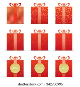 Set of red vector gift boxes. Christmas collection.