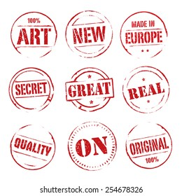 Set of red vector grunge stamps.