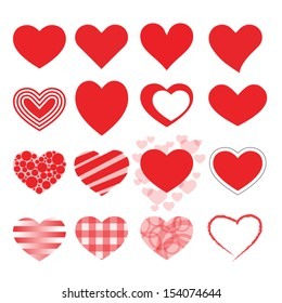 Set of red vector hearts icons.