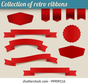 Set of red vector retro ribbons, labels, stickers, tabs and tags