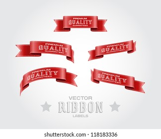 "A set of red vector silky ribbon tags ""Premium Quality Guaranteed"""