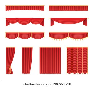 Set of red velvet curtains and draperies for theatre stage, opening night premiere decoration for cinema or presentation event. Realistic icons isolated on white background. Vector illustration.