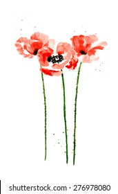 Set of red watercolor poppy flowers