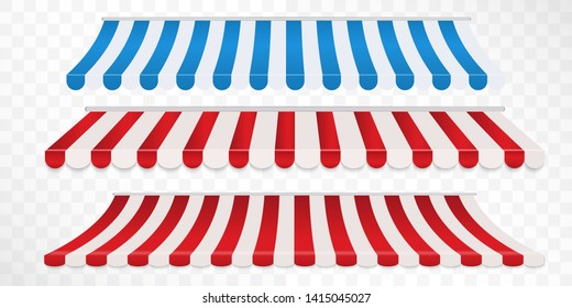 Set of red and white, blue and white strip colorful awnings for shop. Tent sunshade for market isolated on white background. Vector illustration
