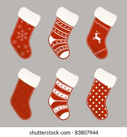 Set of red and white Christmas socks