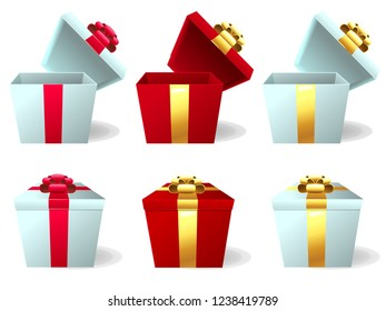 The set the red and white gift box with the red and gold bow in a white background. A cartoon vector illustration isolated on white.