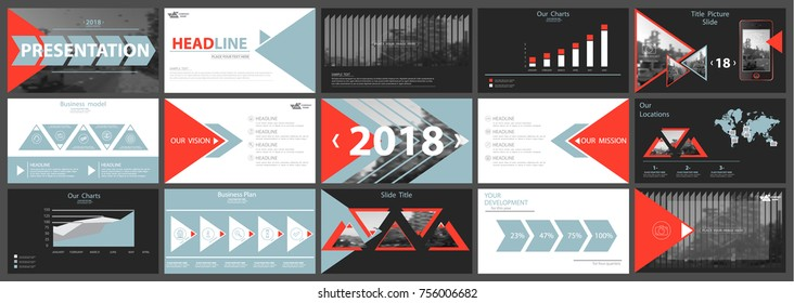 Set of red white informational elements for presentation templates, infographics, background 2018. Template, business, corporate reporting, marketing, advertising. Annual report, postcard, banner