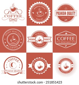 Set of red and white vintage retro coffee badges and labels. Vector illustration.