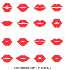Set of red women's lips icons isolated on white