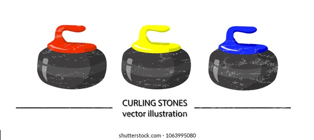 Set of red, yellow and blue volume curling stones on white background. Vector design. Sports, fitness, activity vector illustration. Vector elements of equipment for curling. Realistic color version.
