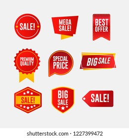 Set of red and yellow discount stickers, badge, sign