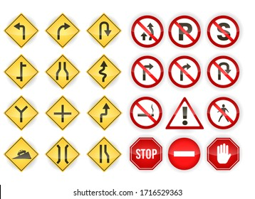 Set of red and yellow traffic sign isolated