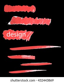 Set red-brush-strokes hand drawn. Vector elements. For your design.