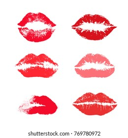 Set of reds lipstick kiss. Realistic vector illustration. Isolated on white background
