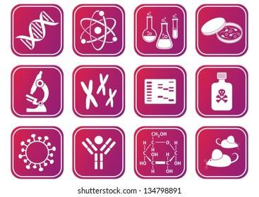 set of red-violet molecular biology science icons