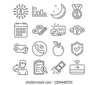 Set of Refresh mail, Keywords and Fast payment icons. Histogram, Quiz test and Best rank signs. Contactless payment, Calendar and Accounting report symbols. Vector