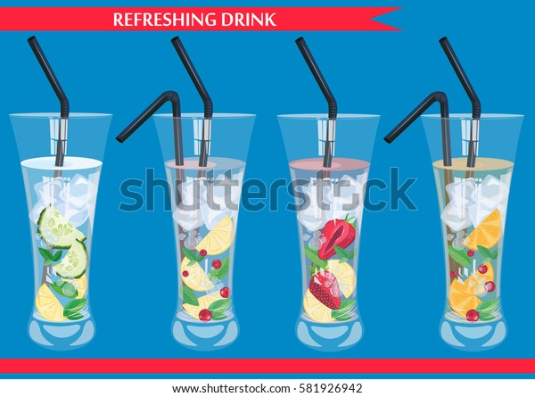 Set of refreshing drinks with cucumber, cranberry, orange, strawberry and mint vector illustration.