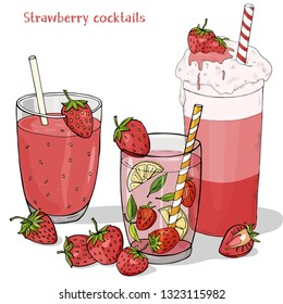 Set of refreshing summer drinks from strawberries. Milkshake, strawberry Mojito, fresh drink and fresh strawberry berries on white background. Colorful vector illustration in sketch style.