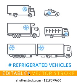 Set of refrigerators for a freezing and delivery of quickly spoiling products. Easily edited template isolated on a white background. Editable stroke sketch icon. Stock vector illustration.