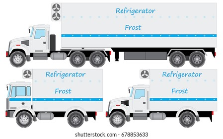 Set of refrigerators for a freezing and delivery of quickly spoiling products. Easily edited template isolated on a white background.