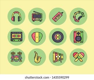 Set reggae icon on cool background