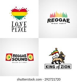 Set of reggae music vector design. Love and peace concept. Judah lion with a rastafari flag. King of Zion logo illustration.