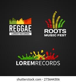 Set of reggae roots music equalizer logo emblem vector on dark background