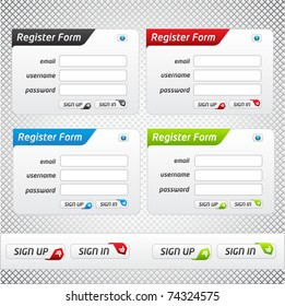 Set of Register Forms multiple colors and clean design
