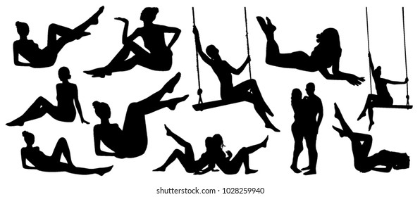 Set of relaxing sitting girl silhouettes