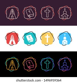 Set of religion christian simple colorful icon in three styles. Cross, pray, church, holy bible.