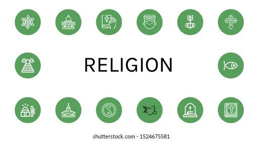 Set of religion icons. Such as Star of david, Temple, Bible, Nefertiti, Shiva, Orthodox cross, Easter, Church, Yin yang, Dove, Grave, Heaven, Christianity , religion icons