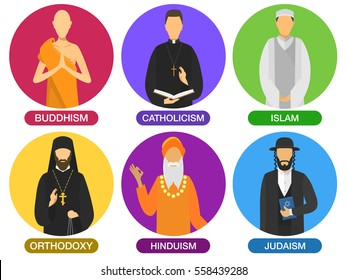 Set of religion ministers avatar icons. culture symbol. traditional people portraits cartoon. group of buddhism, catholicism, islam, orthodoxy, hinduism, judaism religions. vector religion flat design