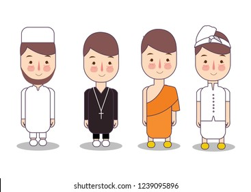 Set of religion people. Different characters collection buddhist monk, christian priests, muslim, hindu leader. Concept of pluralism interfaith diversity. Vector