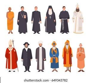 Set of religion people. Different characters collection: buddhist monk, christian priests,  patriarchs, rabbi judaist, muslim mullah, sikh, hindu leader, krishnaite. Colorful vector illustration.
