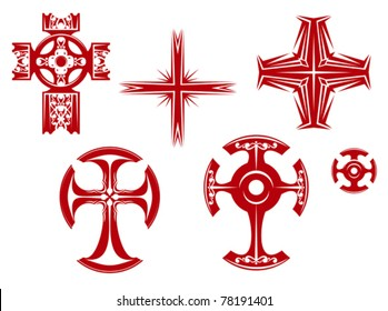 Set of religious crosses and icons for religion design, such a logo. Jpeg version also available in gallery