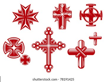 Set of religious crosses and icons for religion design, such logos. Jpeg version also available in gallery
