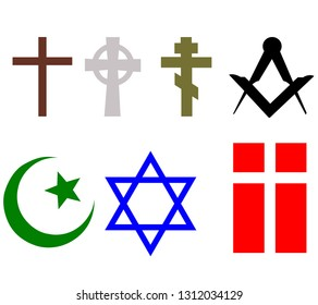 Set of religious signs of different beliefs and religions, vector