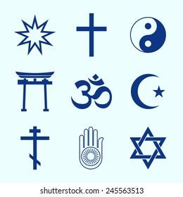 A set of Religious symbols. Blue silhouettes