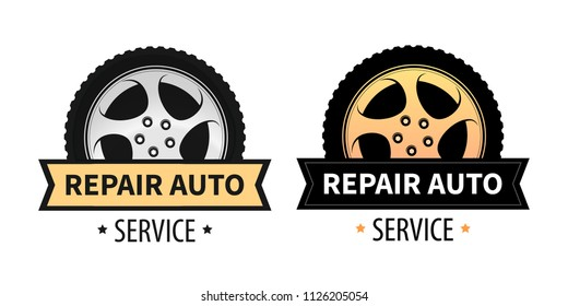Set of Repair Auto Emblem with Wheel. Vector Signs in Orange and Silver colors isolated on white. Vector Signs for Signboard, Banner and Logo of Repair Auto and Tire Service.
