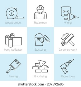 Set of repair home tools and house work improvement icons in line style