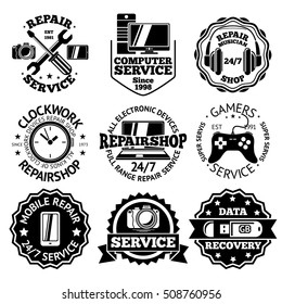 Set of repair and service labels for electronic devices - phones, tablets, computers, notebooks, games, music etc. Vector