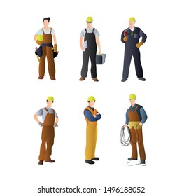 Set of Repair Service People. Professional Repairman Engineer Character in Uniform and Wiring Maintenance Suit. Flat Cartoon Vector Illustration in Colored Style. - Vector