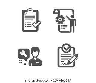 Set of Repairman, Approved checklist and Settings blueprint icons. Rfp sign. Repair service, Accepted message, Engineering cogwheel. Request for proposal.  Classic design repairman icon. Flat design