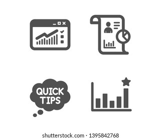 Set of Report, Web traffic and Quick tips icons. Efficacy sign. Work statistics, Website window, Helpful tricks. Business chart.  Classic design report icon. Flat design. Vector
