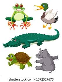 Set of reptiles animals illustration