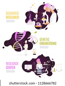 set research chemistry science lab illustration women scientists, doctors, chemists, biologists work in genetic engineering, a woman looks  a microscope, records observations. Plant in flasks DNA GMOs
