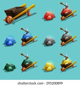 Set of resource icons for games. Green, blue, red, gold and silver ore. Vector illustration.