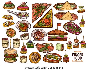 Set of restaurant, cafe finger food, snacks, appetizers, mini canapes, sandwiches, seafood, hamburger, rolls. Vector illustration in flat style, colorful hand drawn sketch